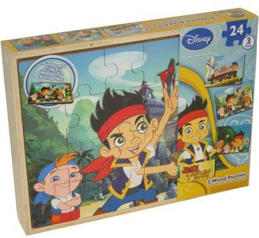 Disney Jake und die Nimmerlandpiraten 3er Pack Puzzle Kinderpuzzle Holzpuzzle
