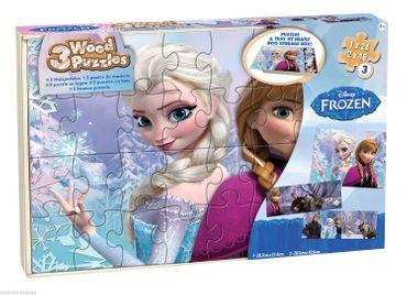 Disney Frozen Puzzle 3er Pack Kinderpuzzle Holzpuzzle Eiskönigin Anna Elsa 8933