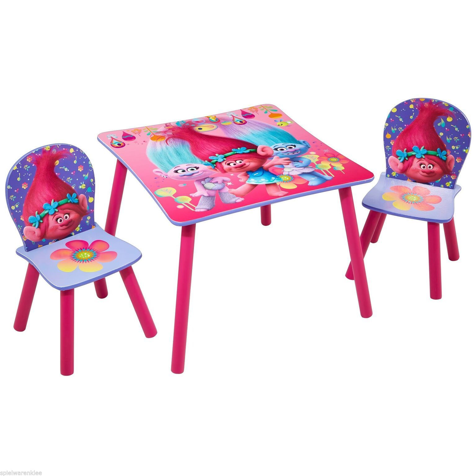 trolls sitzgruppe tisch st hle kinderm bel kindersitzgruppe kindertisch 527tro ebay. Black Bedroom Furniture Sets. Home Design Ideas