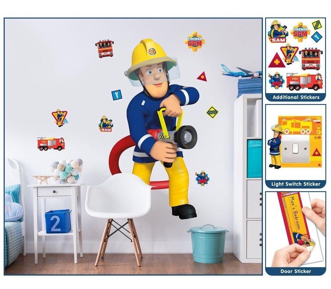 Feuerwehrmann sam wandsticker xxl 1 22 m kinderzimmer wandbild deko wandtattoo ebay - Feuerwehrmann sam wandtattoo ...