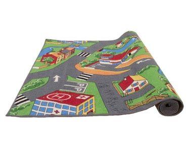 Spielteppich 200x95 cm Kinderteppich Kinderzimmer Jungen Mädchen Teppich Village