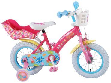 12 Zoll Fahrrad Peppa Pig Wutz Kinderfahrrad Rücktrittbremse Stützräder Pink