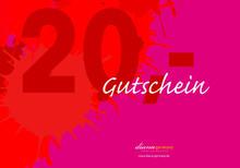 Foto: Gutschein Farbklecks Rot 20,00 EUR,