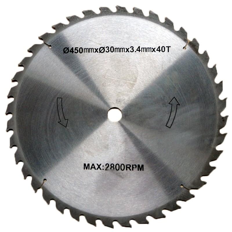 LS450 Lame en acier de remplacement - 450 x 34mm - 40 dents - Carbure de tungstène