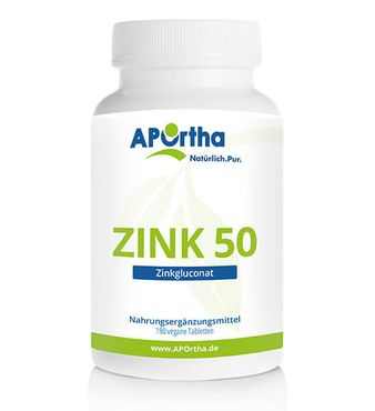 Zink 50 - Zinkgluconat - 190 vegane Tabletten