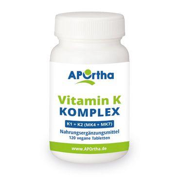 Vitamin K Komplex - K1 + K2 (MK4 + MK7)  - 120 vegane Tabletten – Bild 1