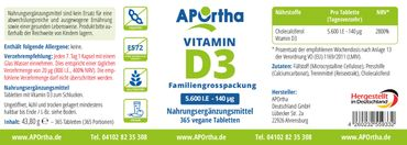 Vitamin D3 Depot 5.600 IE - 365 Tabletten - MHD 03/2019 – Bild 2