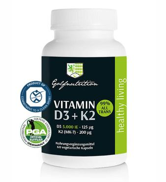 Golfnutrition® Vitamin D3 5.000 IE & Vitamin K2 - 60 Kapseln