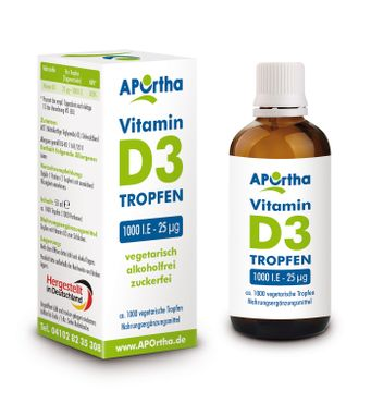 Vitamin D3 1.000 IE - 25 µg - ca. 1.000 vegetarische Tropfen - 50 ml