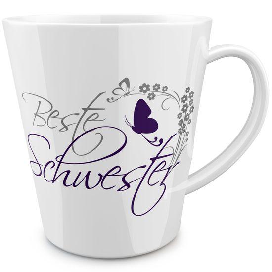 FunTasstic Tasse Beste Schwester (geschwungen) konische Kaffeepott 300 ml