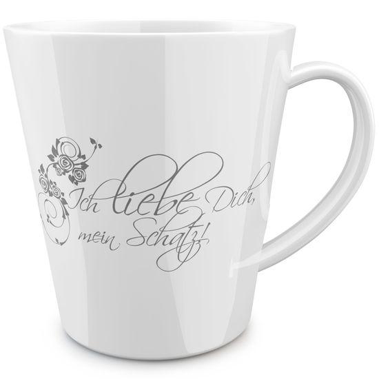 FunTasstic Tasse Ich liebe Dich mein Schatz konische Kaffeepott 300 ml
