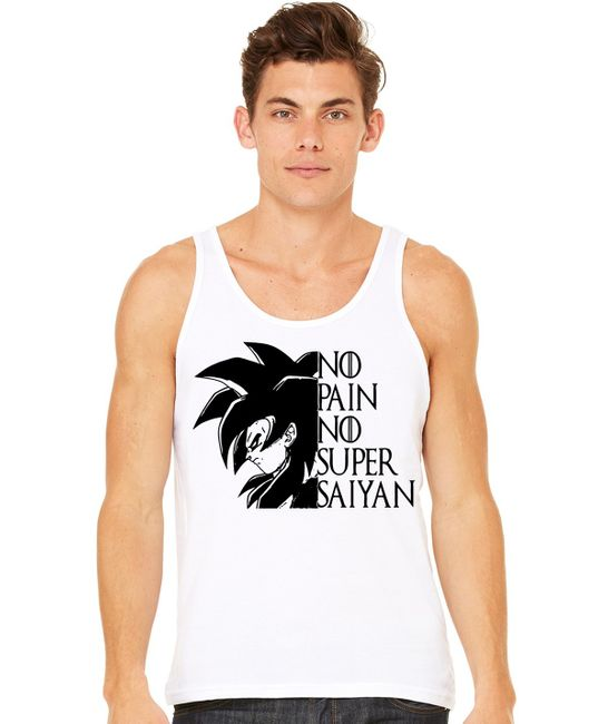 Stylotex Herren Tank Top basic No Pain No Super Saiyan