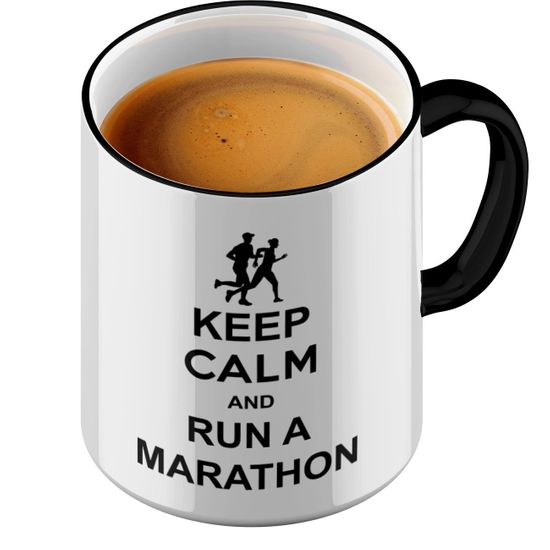 Funtasstic Tasse Keep Calm and run a Marathon - Kaffeepott Kaffeebecher by StyloTex