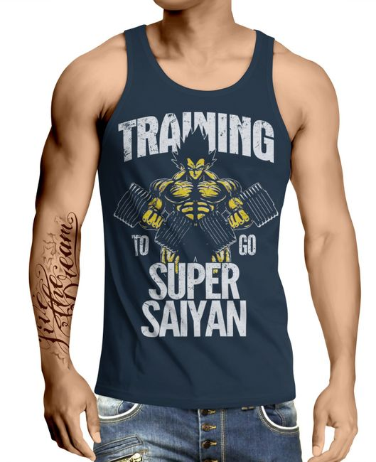 Stylotex Herren Tank Top basic Training to go Super Saiyan vintage