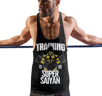 Stylotex Stringer Fitness Tank Top Training to go Super Saiyan vintage Herren Gym Tshirts für Performance beim Training | Männer ärmellos | Funktionelle Sport Bekleidung 001