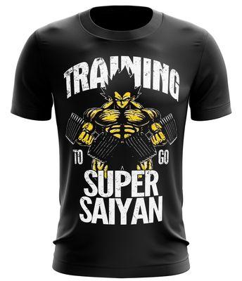 Stylotex Fitness T-Shirt Herren Sport Shirt Training to go Super Saiyan vintage Gym Tshirts für Performance beim Training | Männer kurzarm | Funktionelle Sport Bekleidung 001