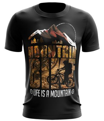 Stylotex Fitness T-Shirt Herren Sport Shirt Life is a mountain v1 Gym Tshirts für Performance beim Training | Männer kurzarm | Funktionelle Sport Bekleidung 001