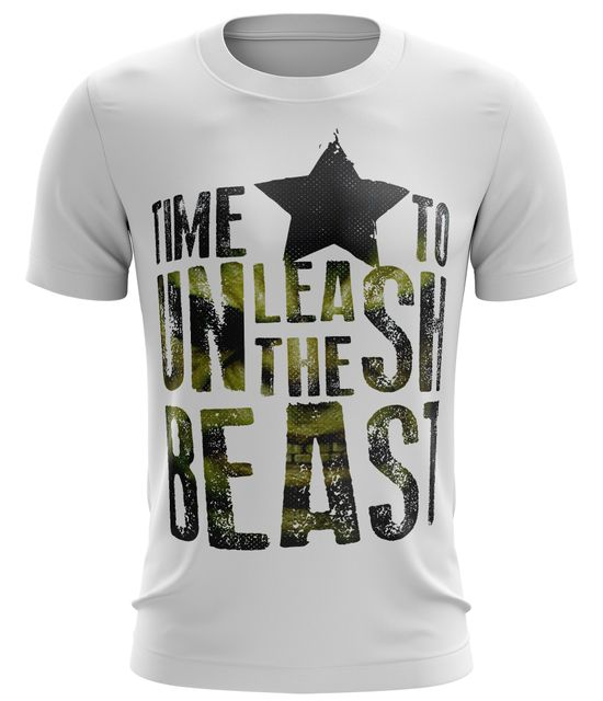 Stylotex Fitness T-Shirt Herren Sport Shirt Time To Unleash the Beast Gym Tshirts für Performance beim Training | Männer kurzarm | Funktionelle Sport Bekleidung