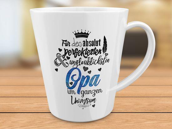 FunTasstic Tasse Für den absolut perfektesten Opa - konische Kaffeepott 300 ml