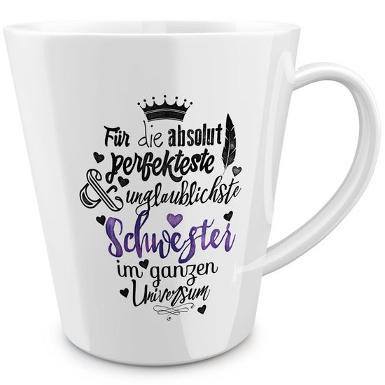 FunTasstic Tasse Für die absolut perfekteste Schwester - konische Kaffeepott 300 ml