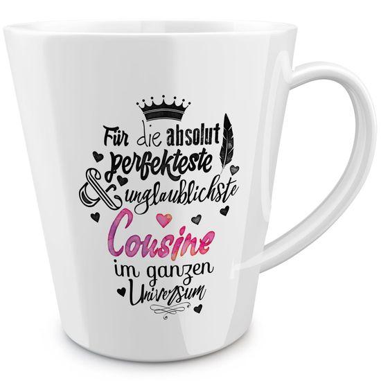 FunTasstic Tasse Für die absolut perfekteste Cousine - konische Kaffeepott 300 ml