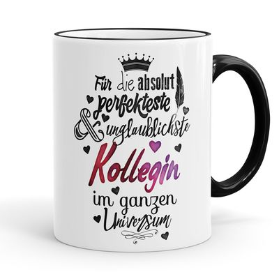 Funtasstic Tasse Für die absolut perfekteste Kollegin - Kaffeepott Kaffeebecher 300 ml (3919) 001