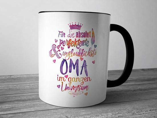 Funtasstic Tasse Für die absolut perfekteste Oma - Kaffeepott Kaffeebecher 300 ml (3922)