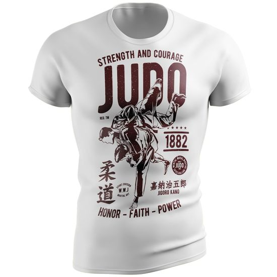 Stylotex Fitness Fitted T-Shirt Strenght and Courage JUDO Functional Shirt schnelltrocknend