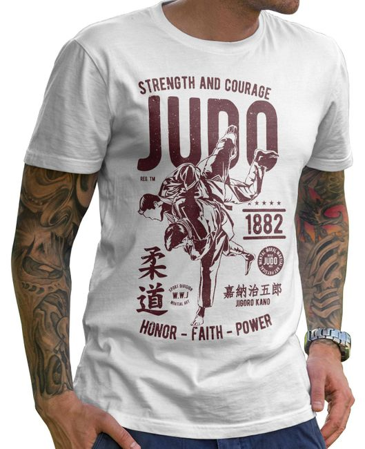 Stylotex Herren T-Shirt Basic Strenght and Courage JUDO