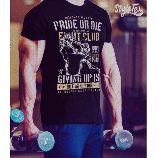 Stylotex Fitness T-Shirt Herren Sport Shirt Pride or Die Fightclub Gym Tshirts für Performance beim Training | Männer kurzarm | Funktionelle Sport Bekleidung