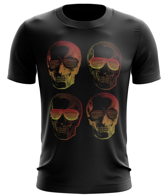 Stylotex Fitness T-Shirt 4 Skulls Cotton Feel Funktions-Stoff schnelltrocknend