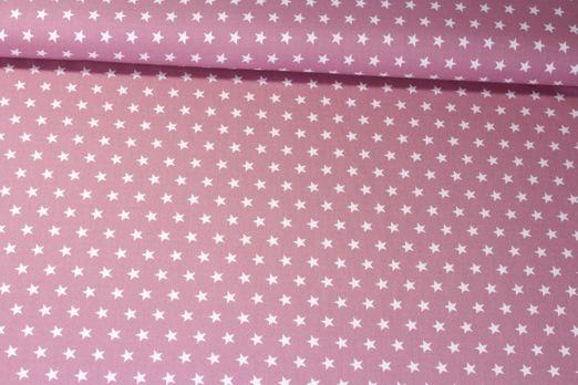 Baumwolle gemustert - Sterne Rose Weiß