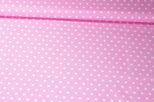 Baumwolle gemustert - Sterne Rosa Weiß