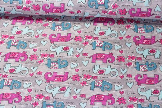 Jersey gemustert - Hippie Elefant Grau Pink Multicolor