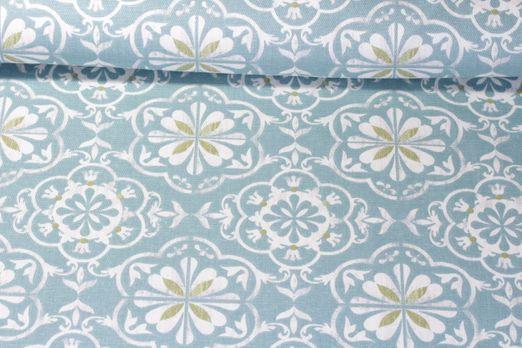 Canvas gemustert - Blumen-Ornamente Blau Weiss