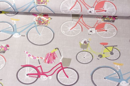 Baumwolle gemustert - Fahrräder Hellgrau Multicolor