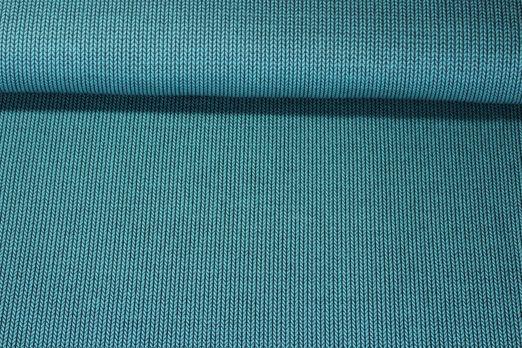 Jersey gemustert - Albstoffe GOTS HHL Knit Knit Hipster Square Petrol Schwarz