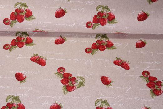 Canvas gemustert - Erdbeerzeit Beige Rot
