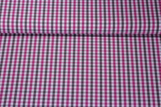 Trachtenstoff gemustert - Kariert Pink Grau Weiss