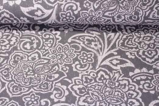 Canvas gemustert - Blumen-Ornamente Graphit Weiss