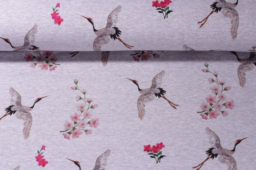 Sweat gemustert - Digital Print Birds and Flowers Grau Melange Multicolor