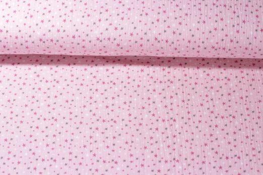 Baumwolle Musselin - Double Gauze Sterne Rosa