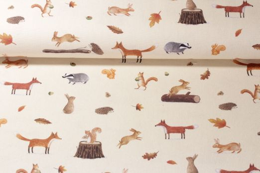 Canvas gemustert - Fuchs Und Hase Und Co. Beige Multicolor