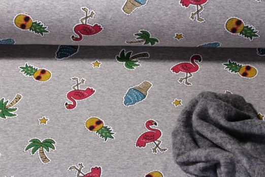 Alpenfleece - Happy Flamingos Glitzerprint Grau Melange Multicolor