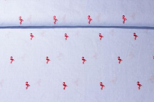 Baumwolle gemustert - Flamingos Bestickt Hellblau Weiss