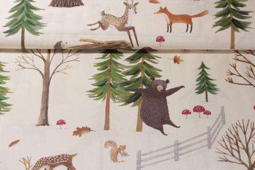 Baumwolle gemustert - Bär Im Wald Beige Multicolor