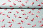 Leinen gemustert - Flamingos Mint 001