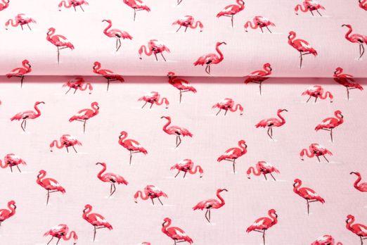 Leinen gemustert - Flamingos Rosa