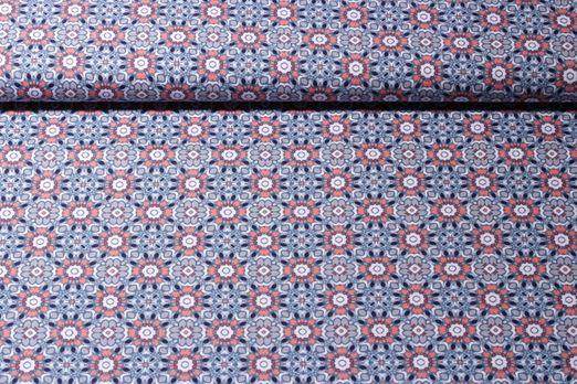 Baumwolle gemustert - Blumenarrangement Blau Rosa