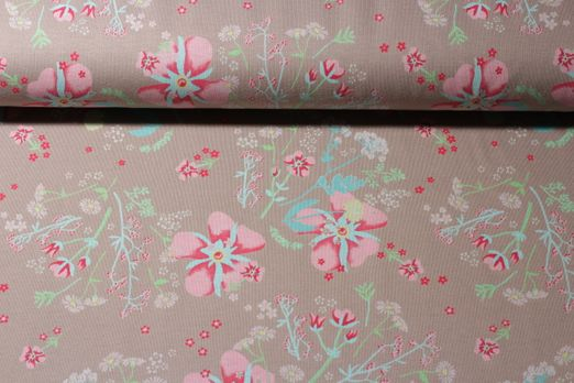 Sommersweat -  Fantasy Flowers Taupe Multicolor